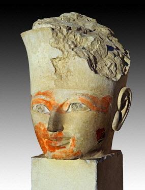 IBLUSK03574215 Fragment of an Osiris statue at Hatshepsut's Temple, Der el Bahari, Luxor, Egypt, Africa