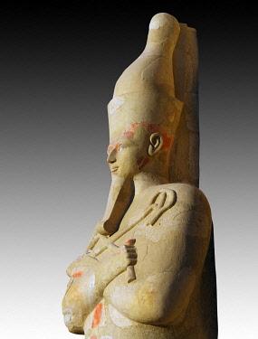 IBLUSK03574219 Osiris statue at Hatshepsut's Temple, Deir el-Bahari, Luxor, Luxor Governorate, Egypt, Africa