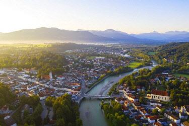IBXHLI05043396 Bad Tolz and Isar in the morning light, aerial view, Isarwinkel, Tolzer-Land, Upper Bavaria, Bavaria, Germany, Europe