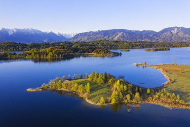 IBXMAN05044620 Lake Staffelsee with peninsula Lindenbichl, aerial view, foothills of the Alps, Upper Bavaria, Bavaria, Germany, Europe