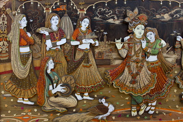 IBLOMK03239757 Radha Krishna with Gopis and a flute-playing Krishna, Suraj Kund, Haryana, India, Asia