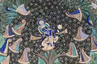 IBLOMK03562612 Pastoral god Krishna playing on his flute after he has hidden the clothes of the shepherd girls in a tree, wall painting or fresco painted with natural colours from the Bundikalam school of painting,...