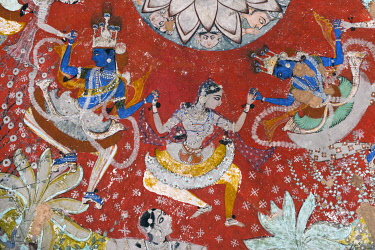 IBLOMK03562636 Pastoral god Krishna dancing the Rasa Lila dance with the Gopis, mural or fresco painted with natural colours, Badal Mahal or Cloud Palace, Bundikalam school of painting, Taragarh Fort, Bundi, Rajasth...