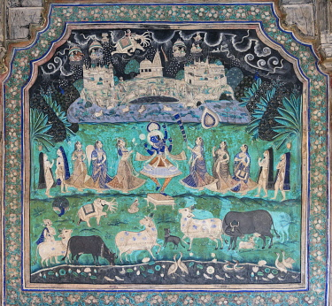 IBLOMK03562682 Pastoral god Krishna performing a miracle and lifting the Govardhan Mountain in the sky, wall painting or fresco painted with natural colours from the Bundikalam school of painting, Chitrashala or Pav...