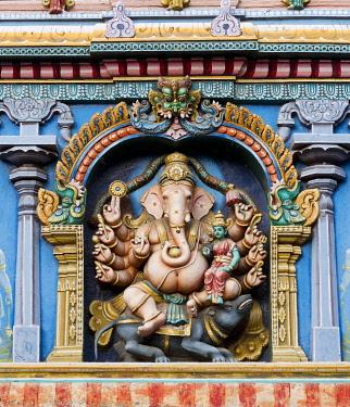 IBLOMK03643575 Hindu god Ganesha or Ganpati, the elephant-headed god in a representation with ten arms on a temple wall, Meenakshi Amman Temple or Sri Meenakshi Sundareswarar Temple, Madurai, Tamil Nadu, India, Asia