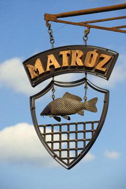 IBLPWN03741122 Traditional Hungarian fish restaurant sign, Gyor, Hungary, Europe