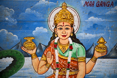 IBLWGB03222300 Mother Goddess Ganga painted on the wall of a house on the banks of the Ganges River, Varanasi, Uttar Pradesh, India, Asia