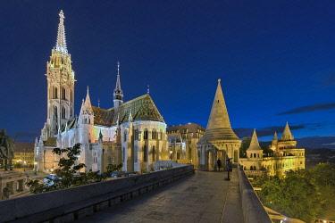 IBXRFI05046823 Matthiaskirche at Fischerbastei, illuminated, dusk, Budapest, Hungary, Europe
