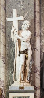 IBLBDN03308426 Statue of the Redeemer by Michelangelo Buonarroti in the Basilica of Saint Mary above Minerva, Santa Maria sopra Minerva, Rome, Lazio, Italy, Europe