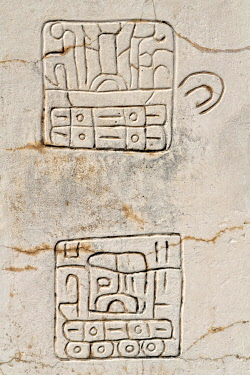 IBLHMW04264358 Two hieroglyphs on marble stele at Plaza de la Estela, Ruins of Xochicalco, Cuernavaca, Morelos, Mexico, Central America