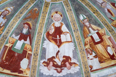 IBLJUN03093304 Apse depicting God the Father and Evangelists, fresco from the 15th century in the Romanesque church San Pietro, 1000 AD, Gemonio, Provinca di Varese, Lombardy, Italy, Europe