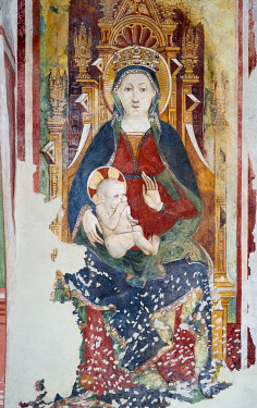 IBLJUN03093975 Madonna and Child, fresco from the 15th century in the Romanesque church, 1000 AD, Gemonio, Provinca di Varese, Lombardy, Italy, Europe
