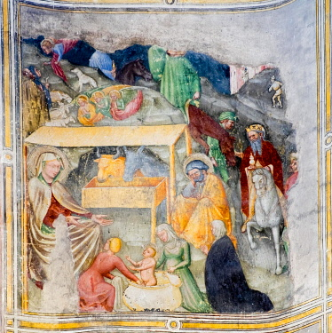 IBLJUN05040330 Birth of Christ, fresco cycle on the life of Mary by Ottaviano Nelli, 1408-13, Gothic, San Francesco, Gubbio, Province of Perugia, Umbria, Italy, Europe