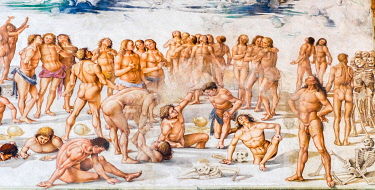 IBLJUN05040404 Detail, Resurrection of the flesh, Last Judgement, fresco cycle by Luca Signorelli, 1499-1502, Capella Nuova or Cappella di San Brizio, Cathedral Santa Maria Assunta, Orvieto, Umbria, Italy, Europe