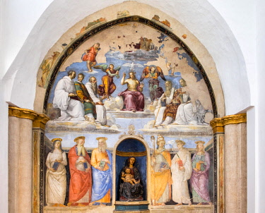 IBLJUN05040960 Chapel, above Trinity with Holy Fresco by Raffaello Santi called Raphael, 1505, below Saints Scholastica, Hieronymus, John the Evangelist, Bruno, Bonifatius, Marta by Pietro Vannucci called Perugino,...