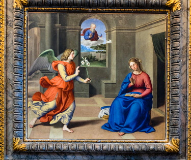 IBLJUN05041171 Annunciazione, Annunciation, Annunciation, painting by Sassoferrato, church San Pietro, Perugia, Umbria, Italy, Europe