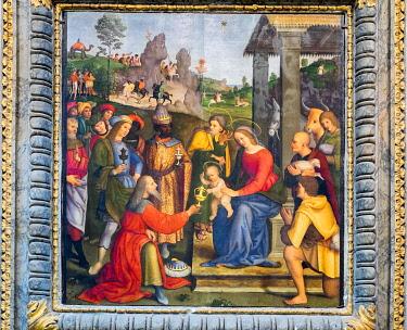 IBLJUN05041172 Adoration of the Magi, Paintings, Church of San Pietro, Perugia, Umbria, Italy, Europe