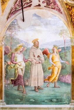 IBLJUN05044646 Angels accompany St. Francis, fresco by Tiberio d'Assisi, 1512, Renaissance, Capella delle Rose, Convent San Fortunato, Montefalco, Province of Perugia, Umbria, Italy, Europe