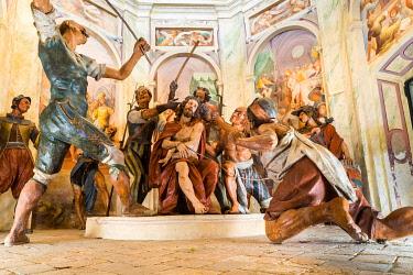 IBLJUN05047992 Terracotta figures, Jesus is mocked, pilgrimage path Sacro Monte di Varese, Baroque, UNESCO World Heritage Site, Varese, Lombardy, Italy, Europe