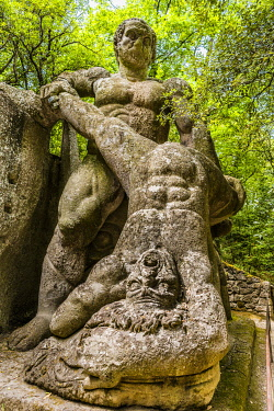 IBLVFW04406570 Hercules, Heracles fighting Cacus, Sacro Bosco, Park of the Monsters, Bormazo, Viterbo, Italy, Europe