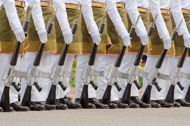 IBXAAA04280344 Royal guards with guns, Hari Merdeka parade,  Independence Day, Kuala Lumpur, Malaysia, Asia