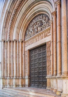 IBXHAN04232168 Baptistery entrance, Parma, Emilia-Romagna, Italy, Europe