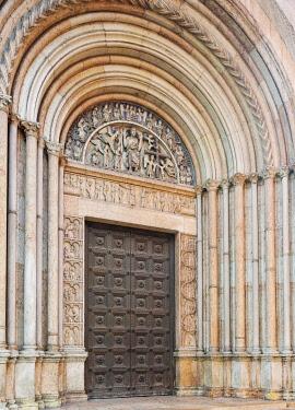 IBXHAN04232169 Baptistery entrance, Parma, Emilia-Romagna, Italy, Europe