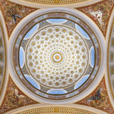 FIN1128AW Ceiling of The National Library of Finland, Helsinki, Finland