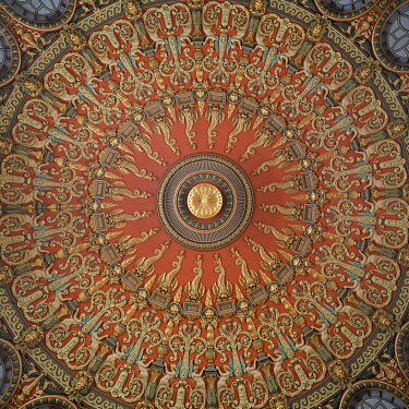 ROM1798AW Ceiling of Romanian Athenaeum Concert Hall, Bucharest, Romania