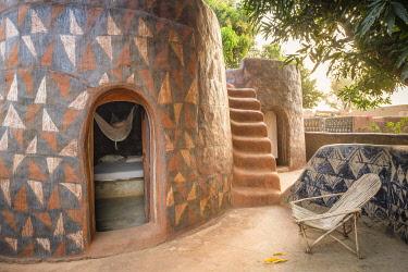 HMS3238640 Burkina Faso, Centre-Sud region, Nahouri province, Tiebele, Kunkolo camp-inn with typical Kassena architecture