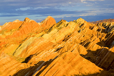 HMS3348896 Eroded hills of sedimentary conglomerate and sandstone, listed as World Heritage by UNESCO, Zhangye, China