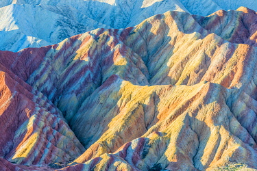 HMS3348905 Eroded hills of sedimentary conglomerate and sandstone, listed as World Heritage by UNESCO, Zhangye, China