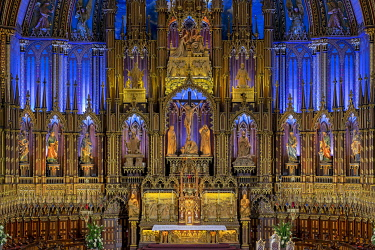 HMS3523230 Canada, Quebec province, Montreal, Notre-Dame Cathedral Basilica, Colorful Choir