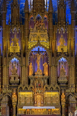 HMS3523231 Canada, Quebec province, Montreal, Notre-Dame Cathedral Basilica, Colorful Choir
