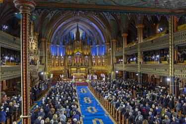 HMS3523233 Canada, Quebec province, Montreal, Notre-Dame Cathedral Basilica, Mass