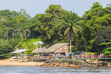 HMS3576278 Cameroon, South Region, Ocean Department, Kribi, restaurants near Lobe Waterfall