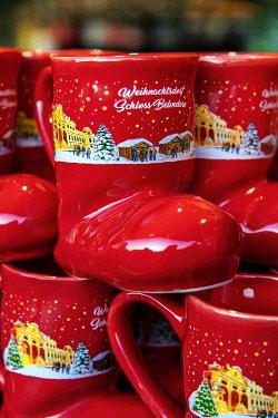 AUT0990AWRF Christmas boot shaped red mug, Belvedere Christmas Market, Vienna, Austria