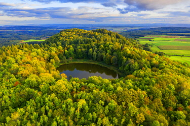 GER11962AWRF Aerial view on Windsborn volcanic crater lake, Eifel, Rhineland-Palatinate, Germany