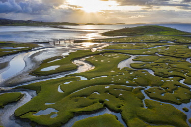 IRL1019AW Aerial view of the wetlands of Mulranny, Achill Island, County Mayo, Connacht province, Republic of Ireland