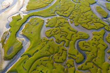 IRL1020AW Aerial view of the wetlands of Mulranny, Achill Island, County Mayo, Connacht province, Republic of Ireland