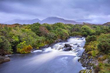 IRL1029AW A river runs through the countryside, Connemara, County Galway, Connacht province, Republic of Ireland, Europe