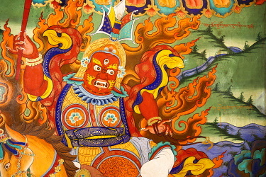 HMS3430959 India, state of Jammu and Kashmir, Himalaya, Ladakh, Indus valley, detail of Lhakhang wall painting (temple) of Likir monastery (gompa) of Gelugpa order