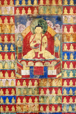 HMS3498539 India, Jammu and Kashmir state, Himalayas, Ladakh, Indus valley, Matho monastery (gompa), central detail of the No. 77 piece of the collection, an eighteenth century thangka after restoration. He repr...