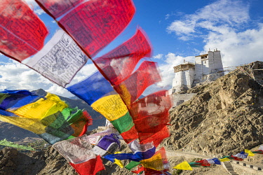 HMS3405788 India, Jammu and Kashmir State, Himalaya, Ladakh, Indus valley, Leh (3500m), régional capital, buddhist monastery of Namgyal Tsemo and prayer flags