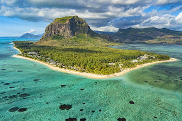 HMS3384940 Mauritius, Black River disctrict, Le Morne Brabant, listed as World Heritage by UNESCO (aerial view)