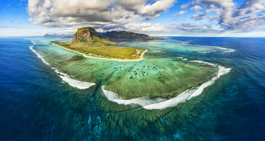 Mauritius, Black River disctrict, Le Morne Brabant, listed as World Heritage by UNESCO (aerial view)