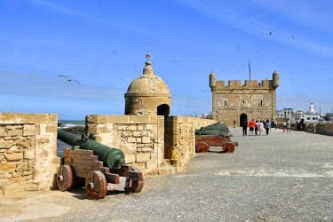 HMS3408138 Morocco, Mogador, Marrakesh Safi region, Essaouira, listed as World Heritage by UNESCO, the medina, old town walls and Skala (sqala) du Port