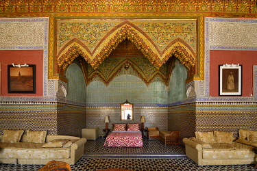 HMS3417238 Morocco, Middle Atlas, Fes, Imperial City, Fes el Bali District, medina listed as World Heritage by UNESCO, Moqri (Mokri) palace which also makes host's room