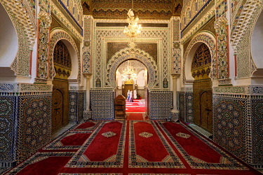 HMS3417302 Morocco, Middle Atlas, Fes, Imperial City, Fes el Bali District, medina listed as World Heritage by UNESCO, the Zaouïa Moulay Idriss, Moulay Idriss II Mausoleum