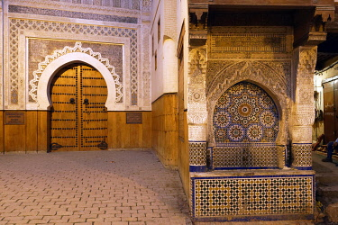 HMS3417328 Morocco, Middle Atlas, Fes, Imperial City, Fes el Bali District, medina listed as World Heritage by UNESCO, Nejjarine square, Nejjarine Fountain and Wood Art and Trades Museum in the former caravanser...